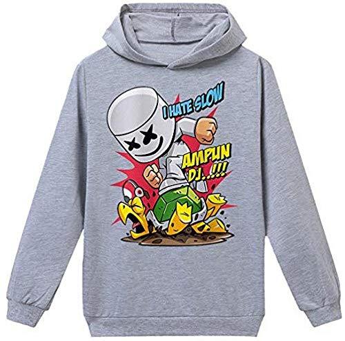 Bkckzzz Ropa Deportiva para niños Sudaderas con diseños Personalizados de Manga Larga Sudadera con Capucha DJ Music Tallas para niños @ (Altura: _80-90cm) _100_Grey_Mask_a