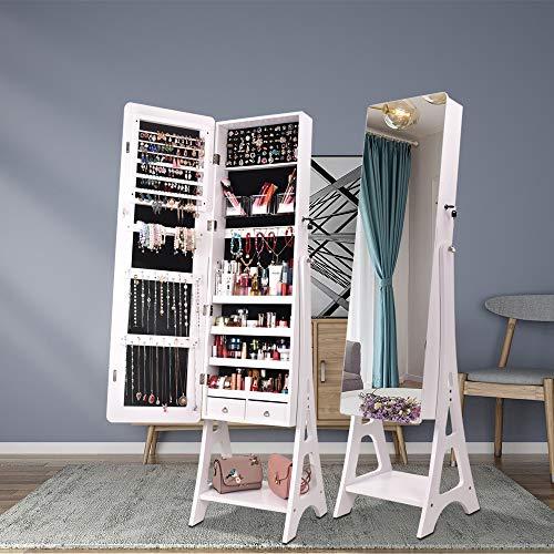 HENGDAMY Schmuckschrank, Ganzkörperspiegel, Spiegelschrank, abschließbarer Schmuckorganizer mit Schublade, Rollen, Einfacher Aufbau, Geschenkidee