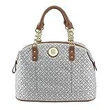 Tommy Hilfiger Logo Chain Bowler Satchel Bag Handbag Purse - Gray