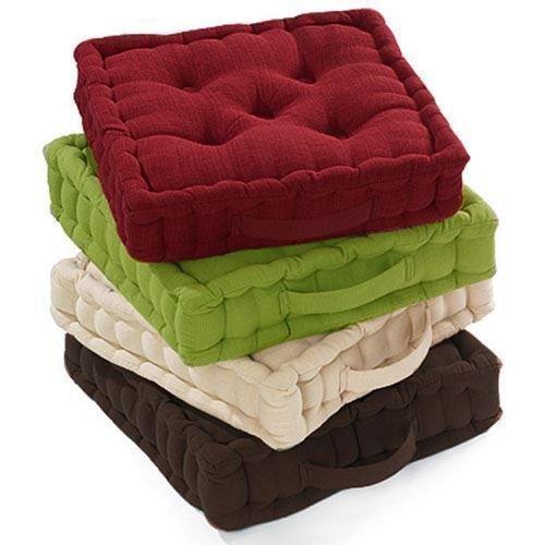 Coussin épais 100 % coton - Coussin galette, rehausseur pour chaise/fauteuil/chaise de jardin (Vert)