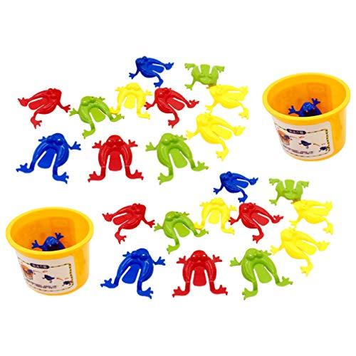 TOYANDONA 24 Piezas de Juguete de Plástico de Rana Saltarina Juguete de Rana Saltarina Juguetes de Primavera para Niños (Color Aleatorio)