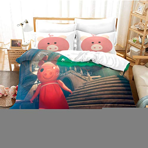 Hanyyj Duvet Cover 3D Printing Roblox Pattern Duvet Cover With Pillow Cover Game Bedding 200X220Cm