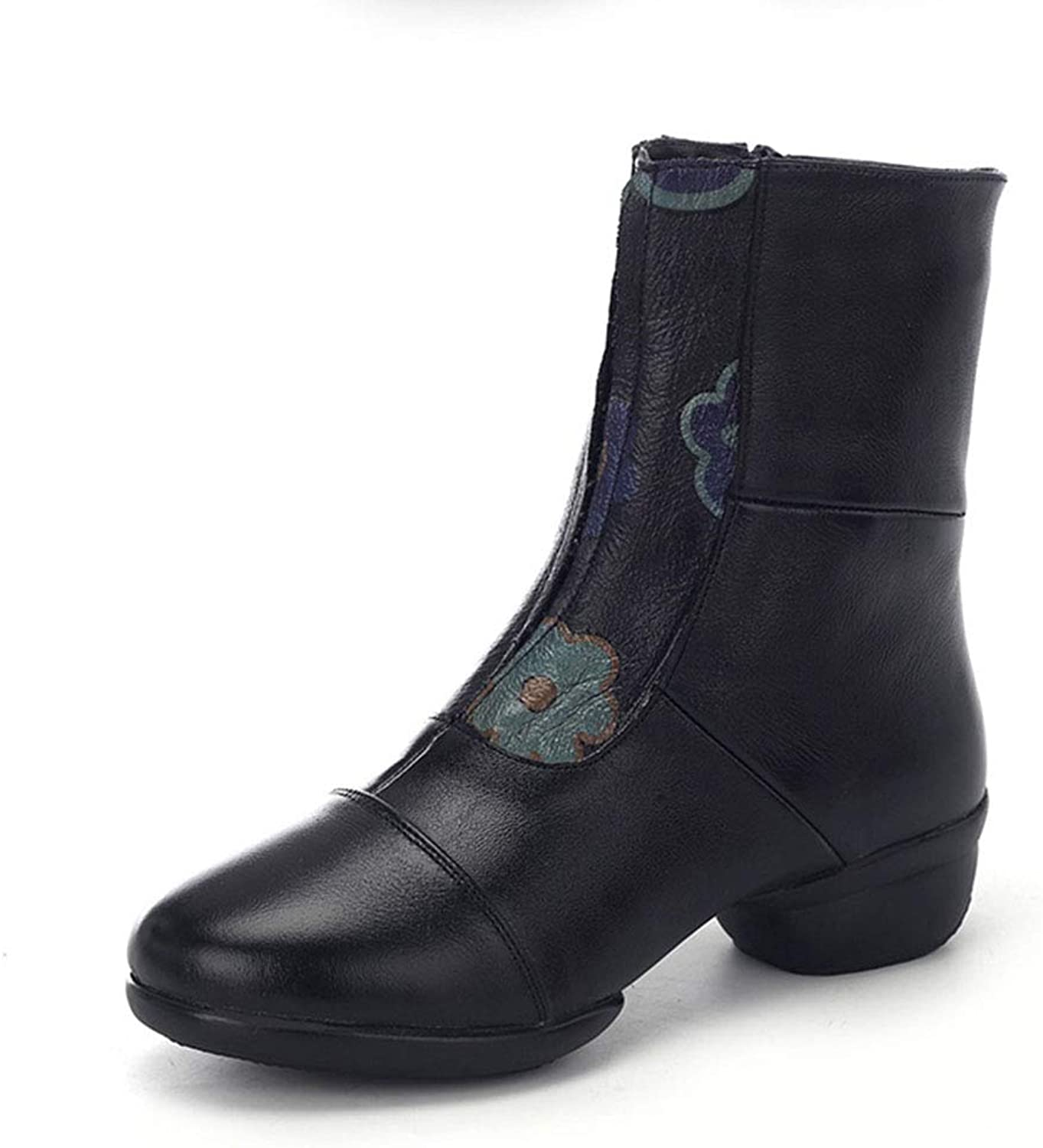 Women's Booties Leather high-top Soft Dance shoes Side Zipper National Wind Sports shoes