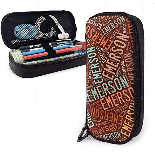 Emerson - Nombre americano Estuche de cuero de alta capacidad Estuche para lápices Organizador de papelería Organizador Bolígrafo de maquillaje Bolso de viaje