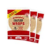 Joseph's Low Carb Wrap Value 3-Pack, Flax, Oat Bran and Whole Wheat, 8g Carbs Per Serving (6 Per Pack, 18 Wraps Total)