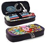 Kirby Star of Allies Super Smash Bros - Estuche de piel para bolígrafos con doble cremallera para adultos, niñas, niños, escuela, oficina