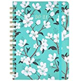 2020-2021 Planner - Academic Weekly & Monthly Planner with Tabs, 6.3' x 8.4', July 2020 - June 2021, Hardcover with Back Pocket + Thick Paper + Banded, Twin-Wire Binding - Teal Floral