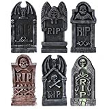 MoonLa Halloween Decorations Graveyard Tombstones (6 Pack), Foam RIP Yard Signs Headstone ...