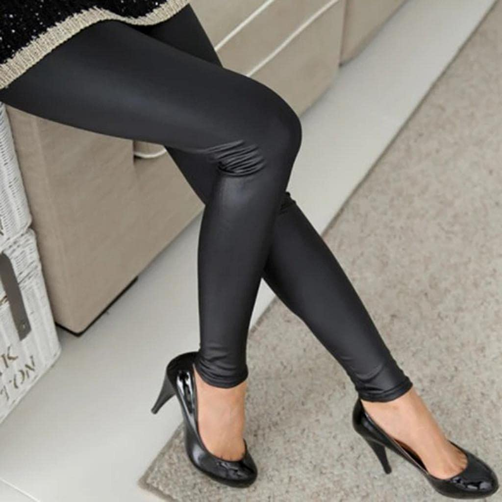 WOSHUAI Women's Sexy Black Leather Pants Plus Size Faux Leather Leggings High Waisted Lightweight Adult Girls Skinny Pants