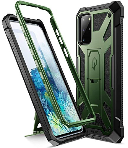 Poetic Spartan Series Designed for Samsung Galaxy S20+ Plus Case, Full-Body Rugged Dual-Layer Metallic Color Accent with Premium Leather texture Shockproof Protective Cover with Kickstand, Metallic Green