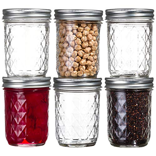 Ball Mason Quilted Crystal Jars 8 oz Regular Mouth Glass Bundle with Non Slip Jar Opener- Set of 6 Half Pint Size Mason Jars - Canning Glass Jars with Lids