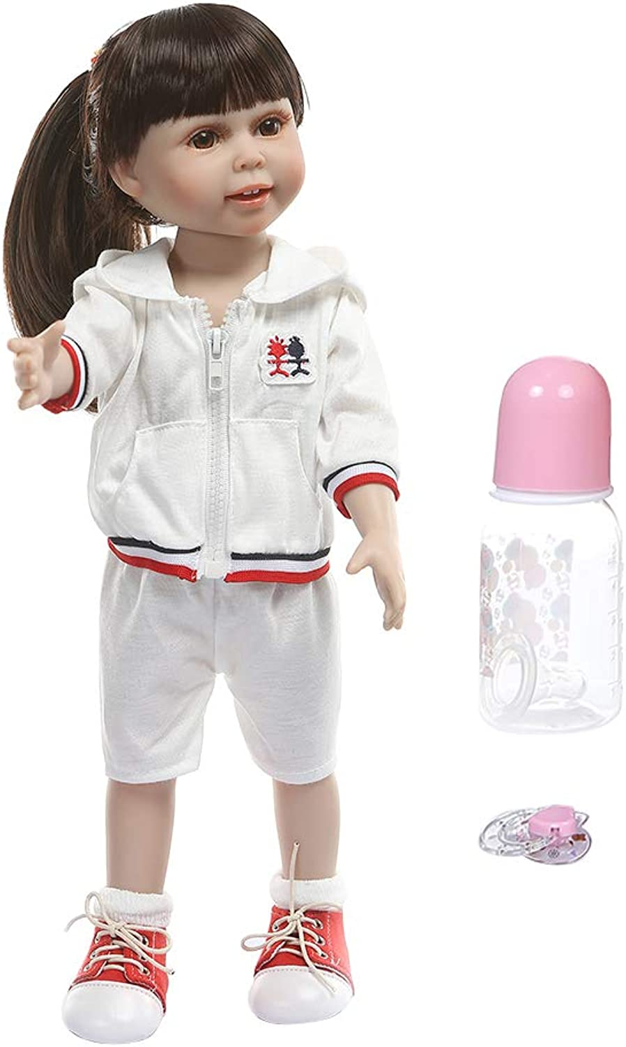 45cm Reborn Doll Realistic Full Silicone Newborn Baby Toy Girl with Pigtails Princess Clothes Pacifier Lifelike Handmade Birthday Gifts