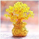 Ornamento de Escritorio Cristales citrino Feng Shui Bonsai árbol del dinero de curación de piedras preciosas árboles Reiki Piedra Buena suerte Crystal Home Office vector de la decoración (tres tamaños