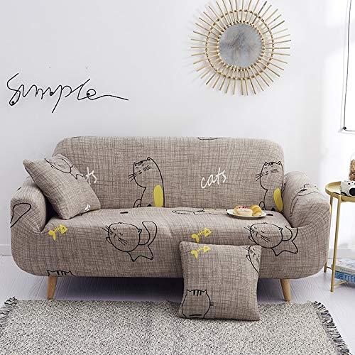 Funda de sofá Gris de Alta Elasticidad, Funda de sofá con patrón de Colores, Funda de sofá Universal Ultrafina, Funda de sofá pequeña, Mascotas para niños A21 de 3 plazas