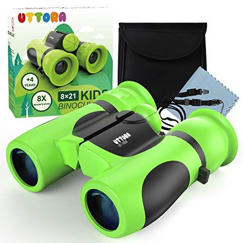UTTORA Wasserdichtes Fernglas für Kinder Starke Vergrößerung 8X21 Leichtes Kompakt Teleskop Geschenk Spielzeug für Jungen und Mädchen (Green)