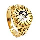 Baoblaze Anillo de Amuleto Yin Yang Símbolo de Acero Inoxidable Tai Chi Joyería de Moda...