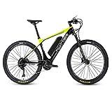 26 Pulgada Fibra Carbon Bicicleta Eléctrica, Pantalla Digital LCD Bike 36V13A Batería Litio MontañaBicicletas,Amarillo