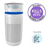 HoMedics TotalClean Tower Air Purifier for Viruses, Bacteria, Allergens, Dust, Germs, HEPA Filter, UV-C Technology, 5-in-1 Purifying with Ionizer, Carbon Odor Filter for Medium Rooms,Home Office,White