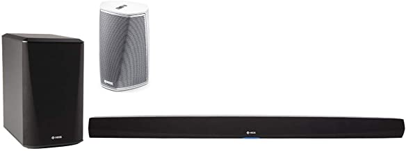 Denon HEOS HS2 Home Cinema 2.1 Sound Bar with Wireless Subwoofer and HEOS 1 Wireless Streaming Speaker - Series 2 (White)