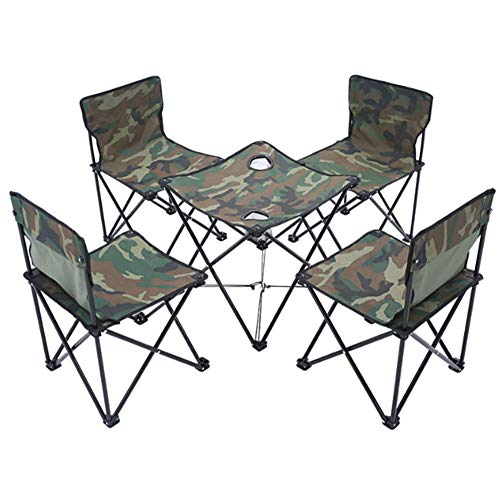 LHFLU-SP Portable Camping Furniture Set Folding Table and 4 Folding Stool Lightweight 5 Piece Camouflage Set Picnic Fishing Chair,Camouflage