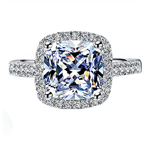THREE MAN I-J VVS1 2CT Engagement Ring for Women Sterling Silver NSCD...