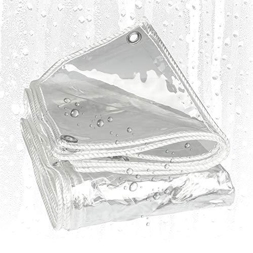 Lona MYAN Impermeable, Toldo Transparente con Ojales, 420g/m² PVC Impermeable Y Prueba Lágrima para Camiones, Piscina, Mueble De Jardín Cubrir (Color : Clear, Size : 2M X 2.5M)