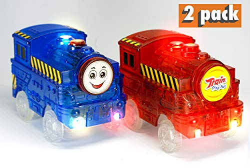 Light Up Toy Cars Blue and Red Train (2-Pack) with 5 LED Lights Glow in the Dark Racing Track Accessories Compatible with Most Tracks Including Magic Tracks for Boys and Girls