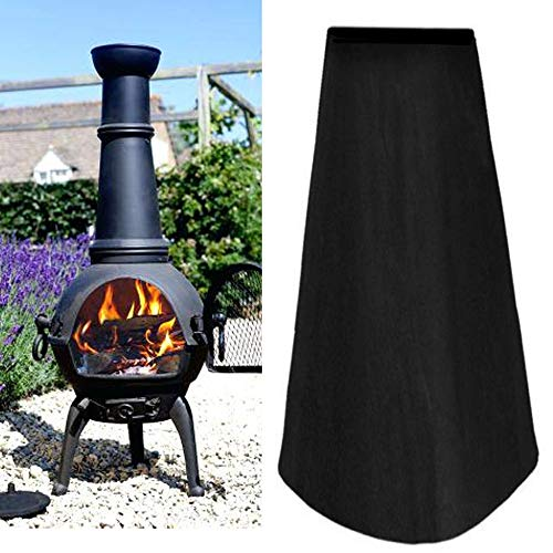 harupink Patio Heater Covers Outdoor Chimenea Cover Heavy Duty Waterproof Rain Sun Uv Protector for Garden Chimney Fire Pit Fountain Year Around Protective Black
