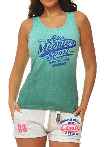 M.Conte Sportliches Damen T-Shirt Fitness T Sweat-Shirt Ohne Ärmel Lila Grün Pink S M L XL Tamy in Farbe Grün Größe L