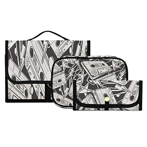 Bolsa de Viaje para artículos de tocador Casetes de Audio Dibujados sin Costuras Grandes Bolsas de baño para Mujeres Bolsa de baño para Hombres Lavable y Plegable Adecuado para Viajes, Deportes y fit