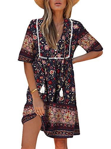 Kidsform Damen Kleider Tshirt Kleid Kurzarm Tunika Boho Blumen Sommerkleid für Damen V-Ausschnitt Minikleid Shirt Lose S-Dunkelblau L