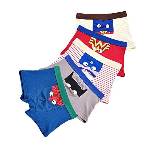 FORUSKY 5er-Pack weiche atmungsaktive Unterwäsche für kleine Kinder, Kleinkinder, Jungen, Boxershorts Gr. 116, 5er Pack B