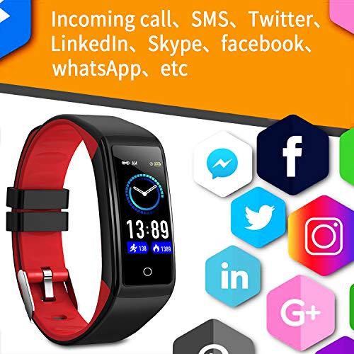 Smartwatch, Reloj Inteligente Impermeable IP68 para Hombre Mujer niños,Pulsera de Actividad Inteligente con 14 Modos de Deporte,con Pulsómetro,Blood Pressure,Sueño,Podómetro,para Android y iOS (Rojo) miniatura