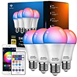 Alexa Compatible Smart Light Bulb RGBCW Color Changing, No Hub Required, Vanance A19 9W 800LM WiFi & Bluetooth & Remote 3in1 Dimmable LED Light Bulb, Works with Alexa Google Home, 4Pack