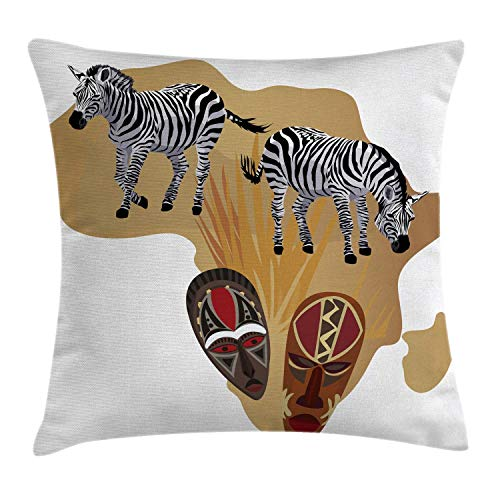 Lichenran Decorative Pillow Covers Illustration of Native and Traditional Ceremonial Zebra Pillowcases Cushion Cover Throw Home Decor for Sofa Car Bedroom(50x50cm)