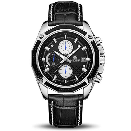 Relojes Hombre Relojes de Pulsera Marea Cronometro Impermeable Fecha Calendario Analogicos Cuarzo Relojes de Hombre Deportivo Casual Clásicos Multifunción con Correa de Cuero (Negro)