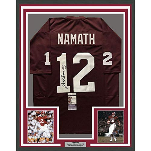 Framed Autographed/Signed Joe Namath 33x42 Alabama Crimson Tide Red College Football Jersey JSA COA