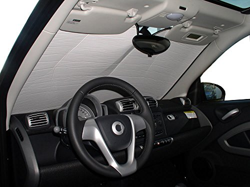 HeatShield, The Original Windshield Sun Shade, Custom-Fit for Smart Fortwo Coupe 2008, 2009, 2010, 2011, 2012, 2013, 2014, 2015, Silver Series
