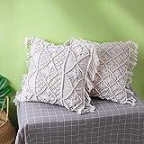 Amagabe Lot de 2 Housse de Coussin 45 x45 cm Cotton Fait Main Decoration Maison Salon Chambre pour Canapé 100% Coton Beige