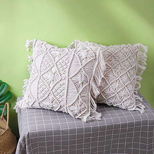 Amagabeli Funda de Almohada para Cojín - Set of 2 - Cojín Suave Almohada Decorativa Funda para Sofá Cojín Funda de Almohada Dormitorio 45 * 45cm 100% algodón Beige