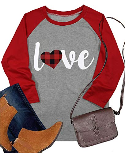 Love Shirt Valentine's Day Baseball T Shirt for Women Plaid Love Heart Graphic Tee 3/4 Sleeve Raglan...