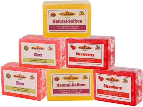 Glamorous Hub Khadi India Bharat Natural Saffron Khus Strawberry Hand Made Glycrine Soaps Combo Pack Of 6X125Gm (Packing May Vary)