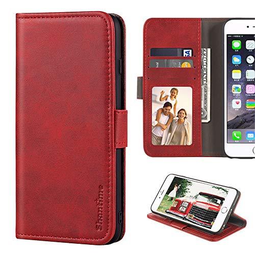 Leagoo Z6 Hülle, Leder Brieftasche Hülle mit Bargeld und Kartenfächern Weiche TPU Backcover Magnet Flip Hülle für Leagoo Z6, rot