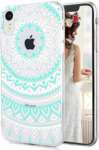 Hepix Paisley iPhone XR Clear Case iPhone XR Blue Mandala Case Dual Layer Soft TPU Hard PC Shockproof Phone Cases for Women Girls Men Boys