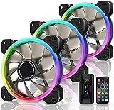 EZDIY-FAB Ventiladores RGB de Doble Anillo de 120mm,5V Motherboard Sync,La Velocidad es Ajustable,RGB Sync Fan con Fan Hub X y Remote-3 Pack