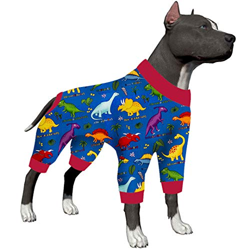LovinPet Large Dog Clothes Dog Shirt Post Surgery Wear/Lost World Dinosaurs Family Prints/Multi Prints/Post Surgery Shirt/UV Protection, Pet Anxiety Relief, Wound Care for Large Dog Onesies