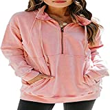 HOSD Manga sólido de con Larga de Casual Color Suéter de de Bolsillo Cadena Canguro Mujer para Top
