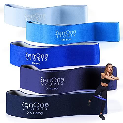 ZenLoops Set de Bandas de Resistencia, Bandas Elásticas con Niveles de Resistencia, Bandas de Entrenamiento para Pilates, Yoga y Fisioterapia Incl. E-Book, Guía de Ejercicios y Bolsa, 5 Piezas (Azul)