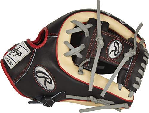 Rawlings Herren PROR314-2B 11 1/2 I/CV Baseball-Handschuh, Schwarz/Camel/Rot-R2G-Infield, 11.5