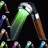 Amison - Alcachofa de ducha LED con cambio de color, ahorro de agua, con 7 colores, temperatura automática, alta presión, filtro de anión
